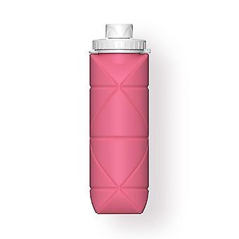 Skandinavischer Stil 600ml Outdoor faltbare zusammenklappbare Wasserflaschen (Pink)