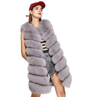 Mimigo Real Fox Fur Vest Új nők Natural Fox Fur Gilet Classic Fur mellény 8 csíkok