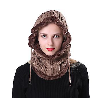 Unisexe Hiver Plein Air Cap Pratique Vélo Ski Hooded Scarf Hat Portable Tricoté Bonnets Épaississants Pour Femmes Hommes (kaki)