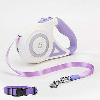 5m Dog Luminous Traction Rope Small And Medium-sized Dog With Lamp Automatic Telescopic Walking Rope Dog Chain Teddy Out Pet Products(purple)