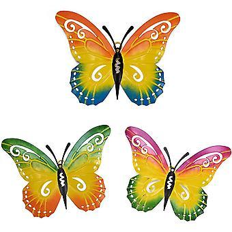 Decoração da parede de butterfly metálica, 3 pacotes de arte de parede metálica decoração borboleta