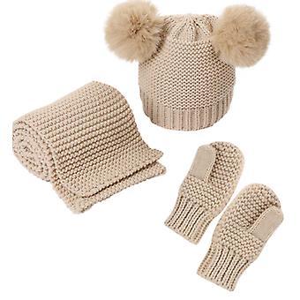 Filles et garçons 3 pièces Chapeau écharpe et gant assorti ensemble assorti
