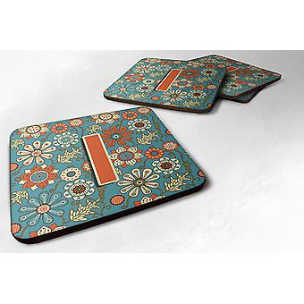 Set of 4 Letter I Flowers Retro Blue Foam Coasters