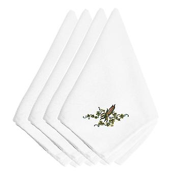 Fall Ear of Corn and Ivy Embroidered Napkins Set of 4