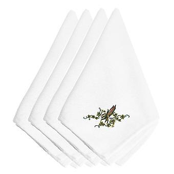 Hösten öra av majs och Ivy broderade servetter uppsättning av 4