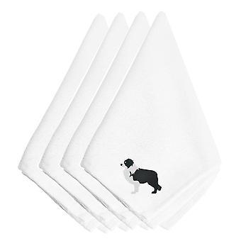 Carolines trésors BB3423NPKE Black Border Collie brodé serviettes de table lot de 4