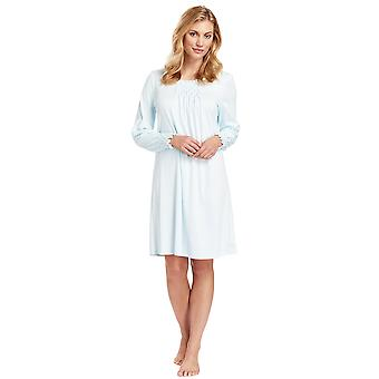 Féraud 3883038-10840 Women's Crystal Blue Cotton Night Gown Loungewear Nightdress