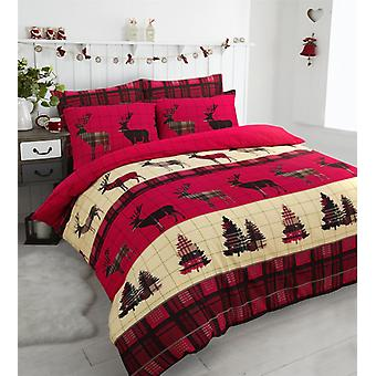 Flannelette Stag Brushed Cotton Christmas Tree Thermal Duvet Cover Bedding Set