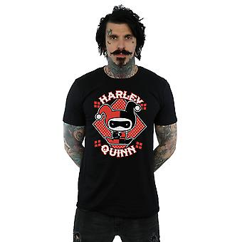 DC Comics Men's T-Shirt Harley Quinn Badge Chibi