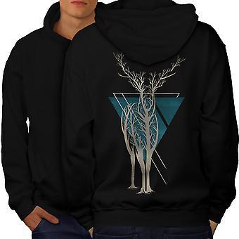 Natuur Tree Art dier mannen BlackHoodie rug | Wellcoda
