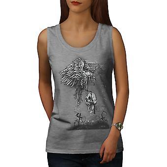 Eagle kraniet død Horror kvinders GreyTank Top | Wellcoda