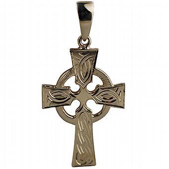 9ct goud 35x24mm hand gegraveerde knoop patroon Keltisch kruis met borgtocht
