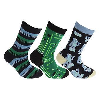 Děti FLOSO/dětský retro Gripper ponožka (3 páry)