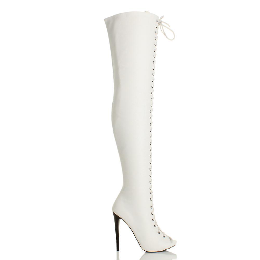 Ajvani womens hoge hak stiletto lace up zip club over de knie dij laarzen - Gratis verzending wckJSl