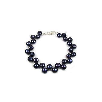 Armband kvinna pärlor av vatten mjukt svart och lås i Silver 925/1000