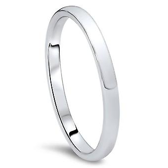 2mm Dome High Polished Wedding Band 10K White Gold