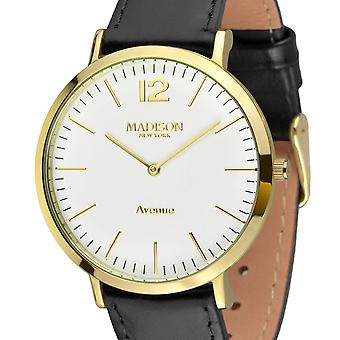 MADISON nova YORK Mens watch couro relógio de pulso L4741C2 Avenue