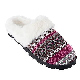 SlumberzzZ Womens Fairisle Memory Foam Mule Slippers