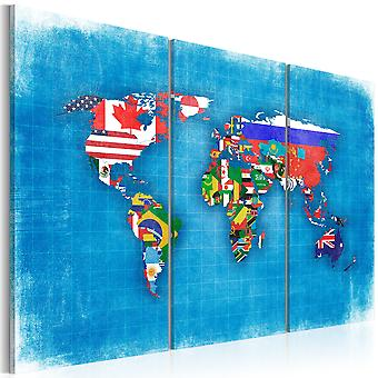 Canvas Print - Flags of the World - triptych