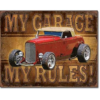 Mi garaje mi letrero de Metal de reglas (rojo Hot Rod)