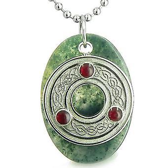Amulett keltisches Triquetra Schutz Knoten grünes Moos Achat Glücksbringer Glück Anhänger Halskette