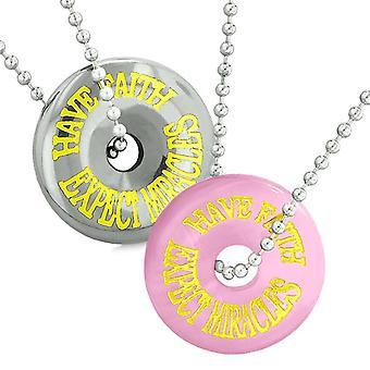 護符は、信仰を持っている期待の奇跡愛カップル ドーナツ ピンク模擬猫目ヘマタイト ネックレス