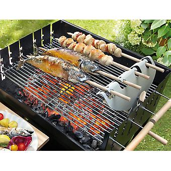 Steckerl-Fisch Grill-Top Bracket Stainless Steel 4 Beech Wood Grill-Skewers for Gas and Charcoal Grills from 45 cm