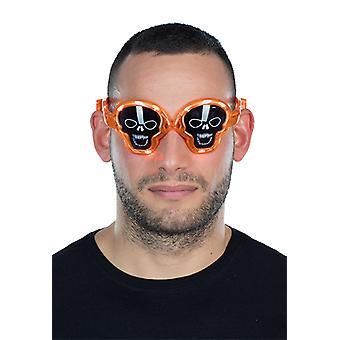 Skull and crossbones glazen LED effect van Oranje frame zwart glazen Halloween accessoire
