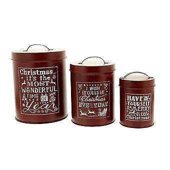 Festive Productions Set of 3 Red Christmas Decoration Tin Kitchen Food Storage Pots