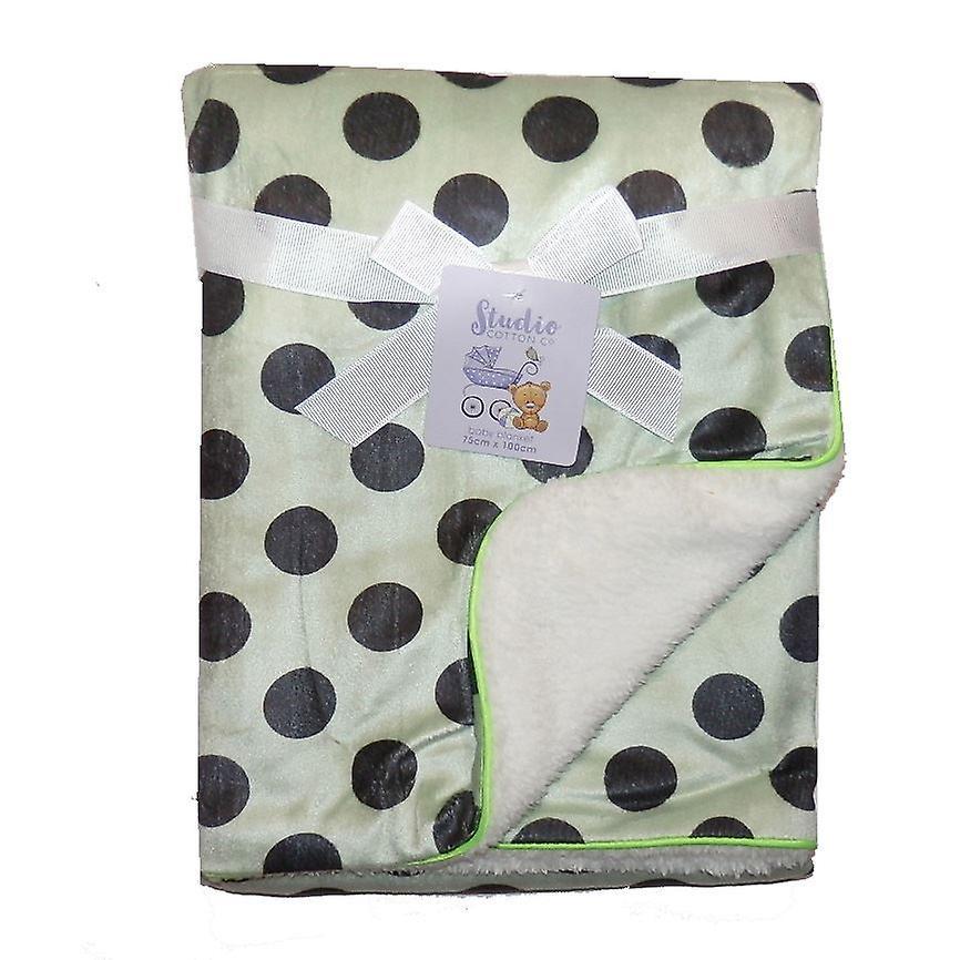 Large Spot Mink Sherpa Fleece Lined Baby Blanket
