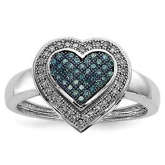 925 Sterling Silver Open back Gift Boxed Cut out sides Rhodium plated Blue and White Diamond Love Heart Ring Jewelry Gif