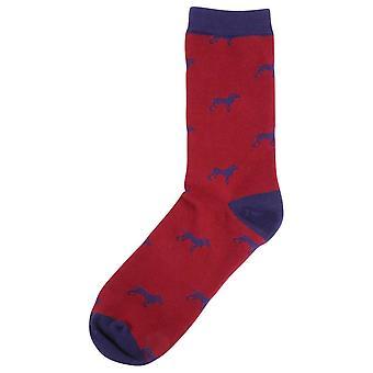 David Van Hagen chien chaussettes - rouge/marine