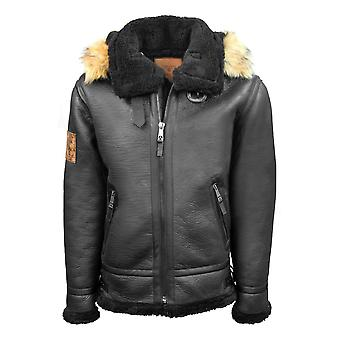 Top Gun Shearling Jacket Black Premium Wool Blend