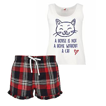 Dom nie je doma bez mačka dámy tartan frill krátke pyžamá nastaviť červenú modrú alebo zelenú modrú