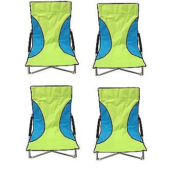 4 Green Nalu Folding Low Seat Beach Chair Camping Chairs