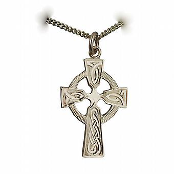 9ct Gold 28x20mm Hand gravierte Knoten Muster Keltisches Kreuz mit einem Bordstein Kette 24 Zoll
