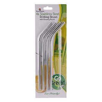 4 x Grunwerg Reusable Stainless Steel Drinking Straws with a Cleaning Brush
