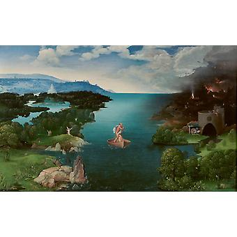 Landscape with Charon ' s Bark, Joachim Patinir, 60x37cm
