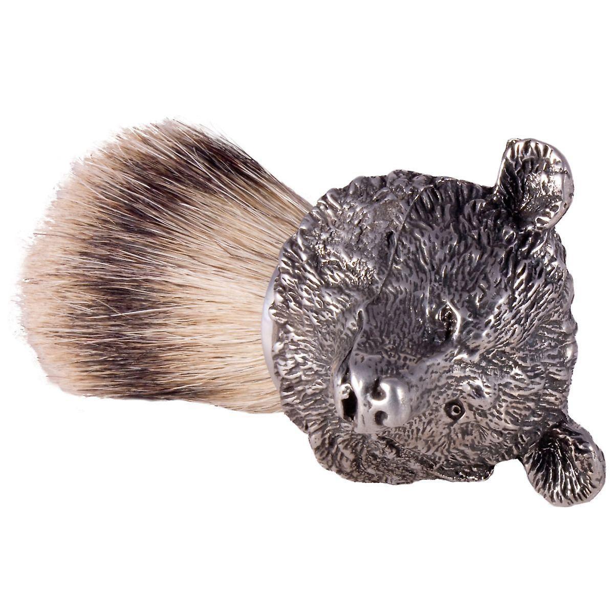 The English Pewter Co Silvertip Badger Hair Shaving Brush-Bear