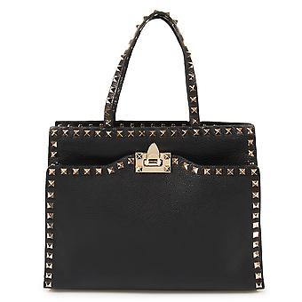 Valentino Rockstud Tote in Black Leather