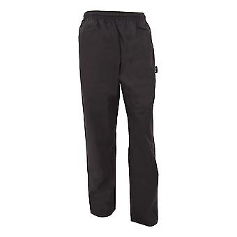 Dennys Unisex Black Elasticated Trouser / Chefswear (Pack of 2)