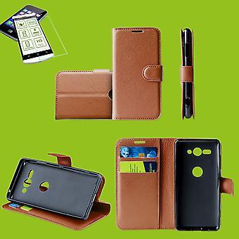 Für Samsung Galaxy M20 6.3 Zoll Tasche Wallet Premium Braun Schutz Hülle Case Cover Etui + 0,26mm H9 2.5 Hart Glas