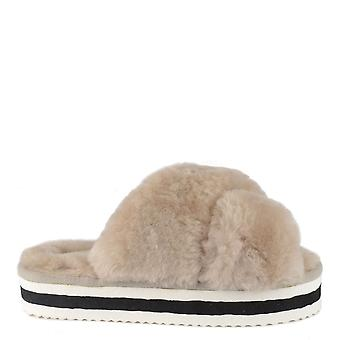 Shepherd of Sweden Amanda Honey Fluffy Platform Slide