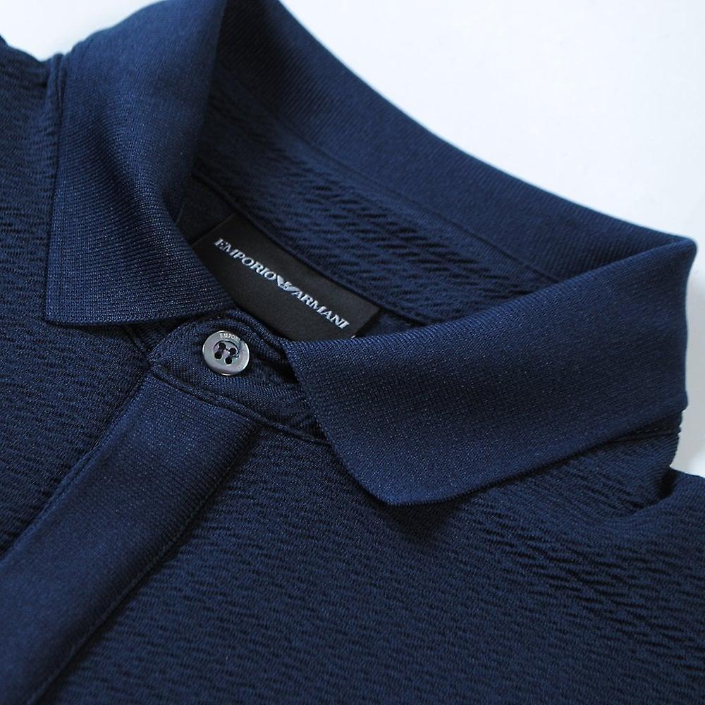Emporio Armani Textured Polo Shirt Navy