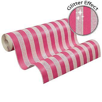 Bling bling stribe glitter pink hvid tapet stribet pasta væg som oprettelse