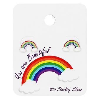 Rainbow øret knopper på søde kort - 925 Sterling sølv sæt - W34100X