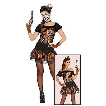 Naisten retro steampunk luuranko Halloween Fancy Dress puku