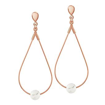 Eternal Collection Eclectic White Howlite Rose Gold Tone Drop Teardrop Hoop Clip On Earrings