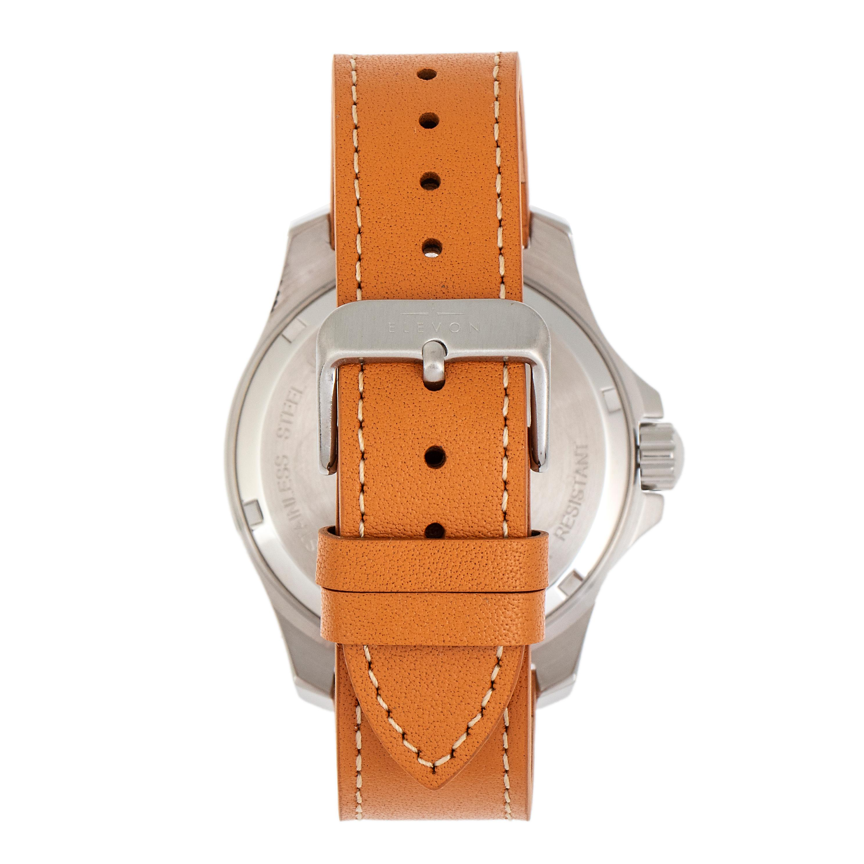 Elevon Aviator Leather-Band Watch w/Date - Camel/Brown