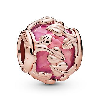 PANDORA Leaves Pandora Rose Charm With Encased Pink Synthetic Sapphire - 788238SSP